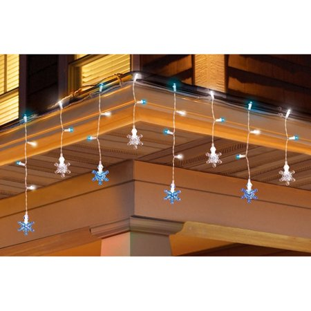 Holiday Time 30-Count Color Change Snowflake and Icicle Christmas Lights,  Blue/White - Holiday Time 30-Count Color Change Snowflake And Icicle Christmas