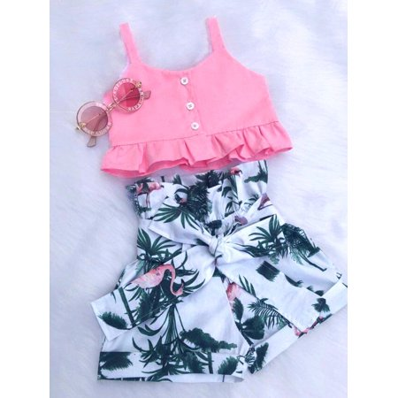 Flamingo Toddler Baby Girl Floral Vest Crop Tops Short Pants Outfits Clothes ()