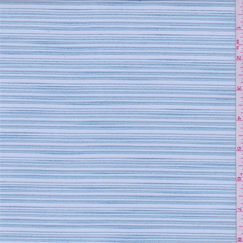 Baby Blue Embroidered Stripe Organza, Fabric By the Yard