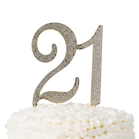 21 Cake Topper for 21st Birthday Party Supplies and Decoration Ideas (Gold)