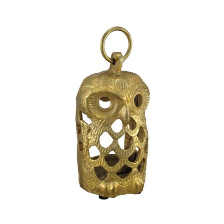 Golden Filigree Owl Decorative Cast Aluminum Tealight Candle Lantern