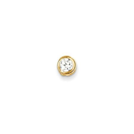 14k Yellow Gold 5mm Cubic Zirconia bezel pendant