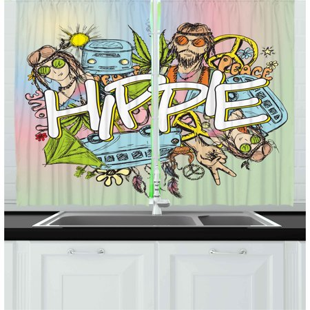 Modern Curtains 2 Panels Set, Hippie Life with Man and Woman Peace Symbol No War Liberal Boho Sketch Illustration, Window Drapes for Living Room Bedroom, 55W X 39L Inches, Multicolor, by Ambesonne](Hippie Door Curtain)