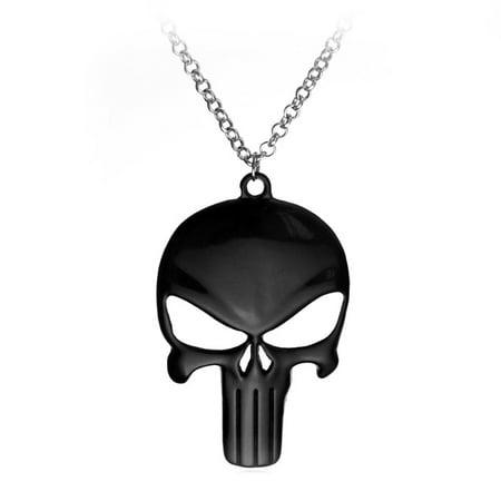 Black Skull Head Necklace The Punisher Style Skull Skeleton Pendant  -