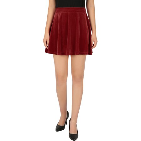 Adult Circle Skirt - HDE Women's Vintage Velvet Flared Pleated A-Line Circle Mini Skater Skirt