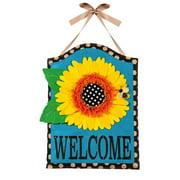 Evergreen Enterprises, Inc Palmer Sunflower Welcome Polyester 1'9 x 1'3 ft Door Hanger