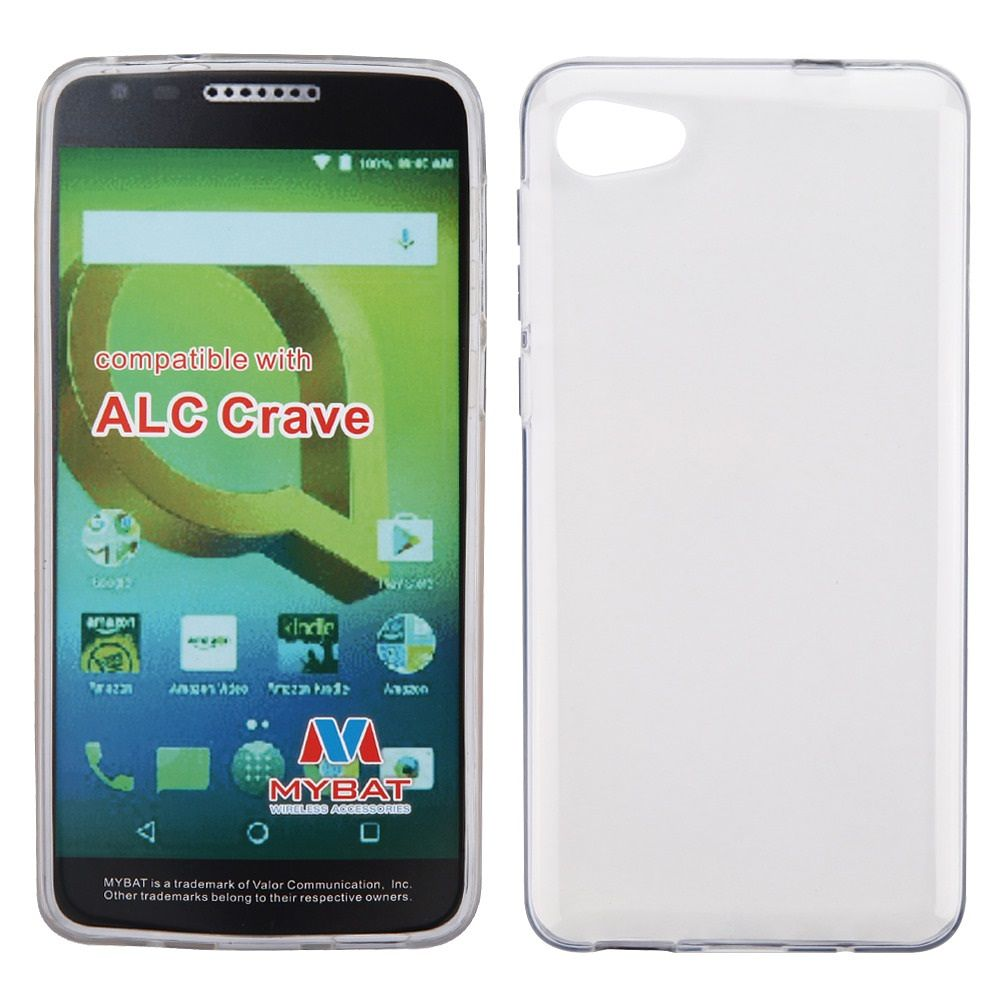 Insten TPU Gel Glossy Transparent Candy Skin Case Cover For Alcatel Pulsemix - Clear (Bundle with USB Type C Cable)