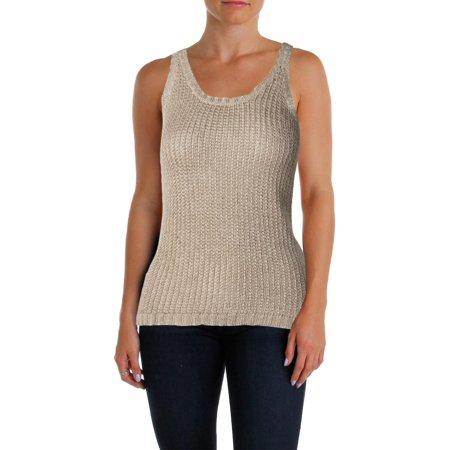 Lauren Ralph Lauren Womens Petites Linen Blend Scoop Neck Sweater Vest