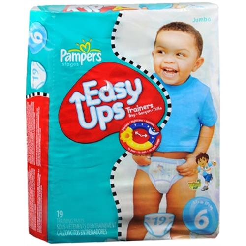 Pampers Easy Ups Pull-On Diapers Boys Size 6 37+ LBS 19 Each [4 packs per case] (Pack of 3)