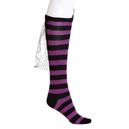 Wicked Witch Socks Womens Knee High Striped Purple and Black Halloween Costume