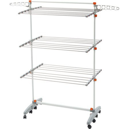 idee  BDP-V23 Premium Foldable 8-wheeled Clothes Laundry Drying Rack with Stainless Steel Hanging Rods