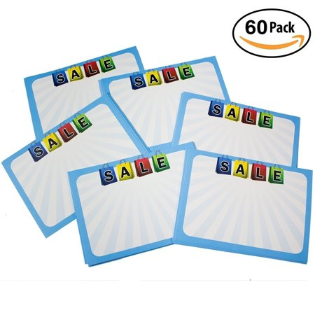 Retail Genius Sale Price Tag 60 Large Sign Value Pack  Big 5x7 Display Tags  Boost Business  Durable, Easy to Write On Cards Are Perfect for Yard,