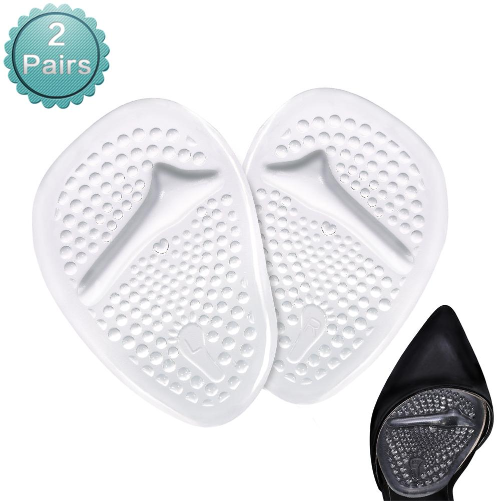 2 Pairs Anti-slip Shoe Pads Inserts Gel Forefoot Insoles for Women,Relieve Metatarsal Foot Pain (Clear)