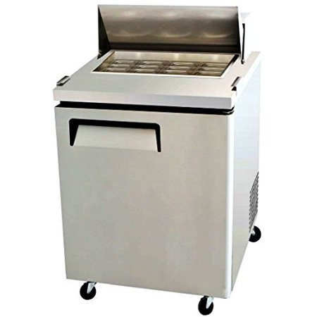 "Prep Table Salad Sandwich 12 Pan 28"" L - Refrigerated - 1 Door - 8 Cu. Ft. - Poly Cutting Board - Commercial Grade 304 Stainless Steel - MSF-8305"