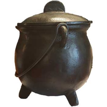 Party Games Accessories Halloween Séance Cauldrons Plain Cast Iron Three Legged with Handle and Lid Large 8