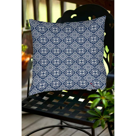 Thumbprintz Winter Garden Baroque White on Navy Indoor/Outdoor Pillow ()