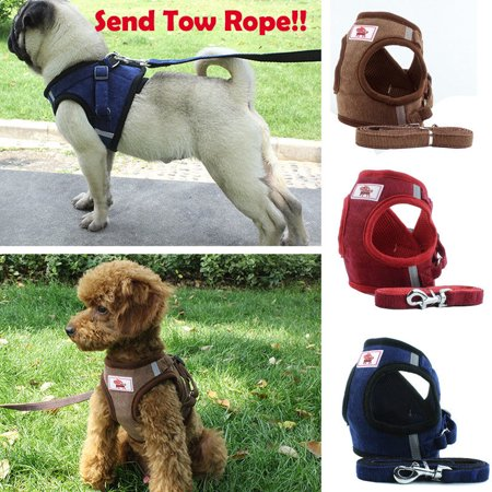 Adjustable Puppy Dog Pet Vest Harness Soft Nylon Leash Collar WalkOut Hand Strap Collar Dog Pet Harness