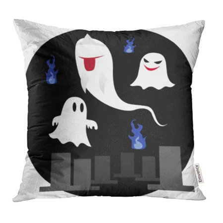 ARHOME Fire Cartoon Cute Ghost Halloween Japan Abstract Autumn Black Blaze Bogy Pillow Case Pillow Cover 18x18 inch Throw Pillow - Blaze Halloween Display