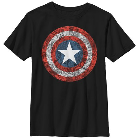 Marvel Boys' Captain America Shield Comic Print T-Shirt - Marvel Boys