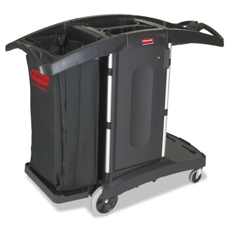 44 H x 22 W x 51.75 D in. Compact Folding Housekeeping Cart, Black