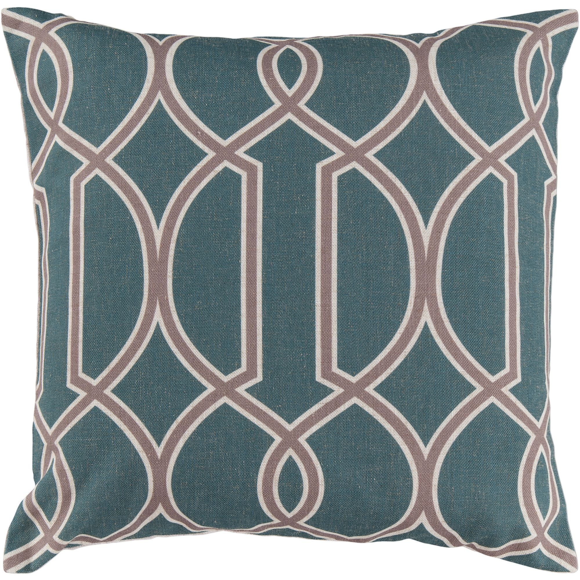 Libby Langdon Bentley Hand Crafted Geometric Trellis Decorative Pillow with Poly Filler, Teal