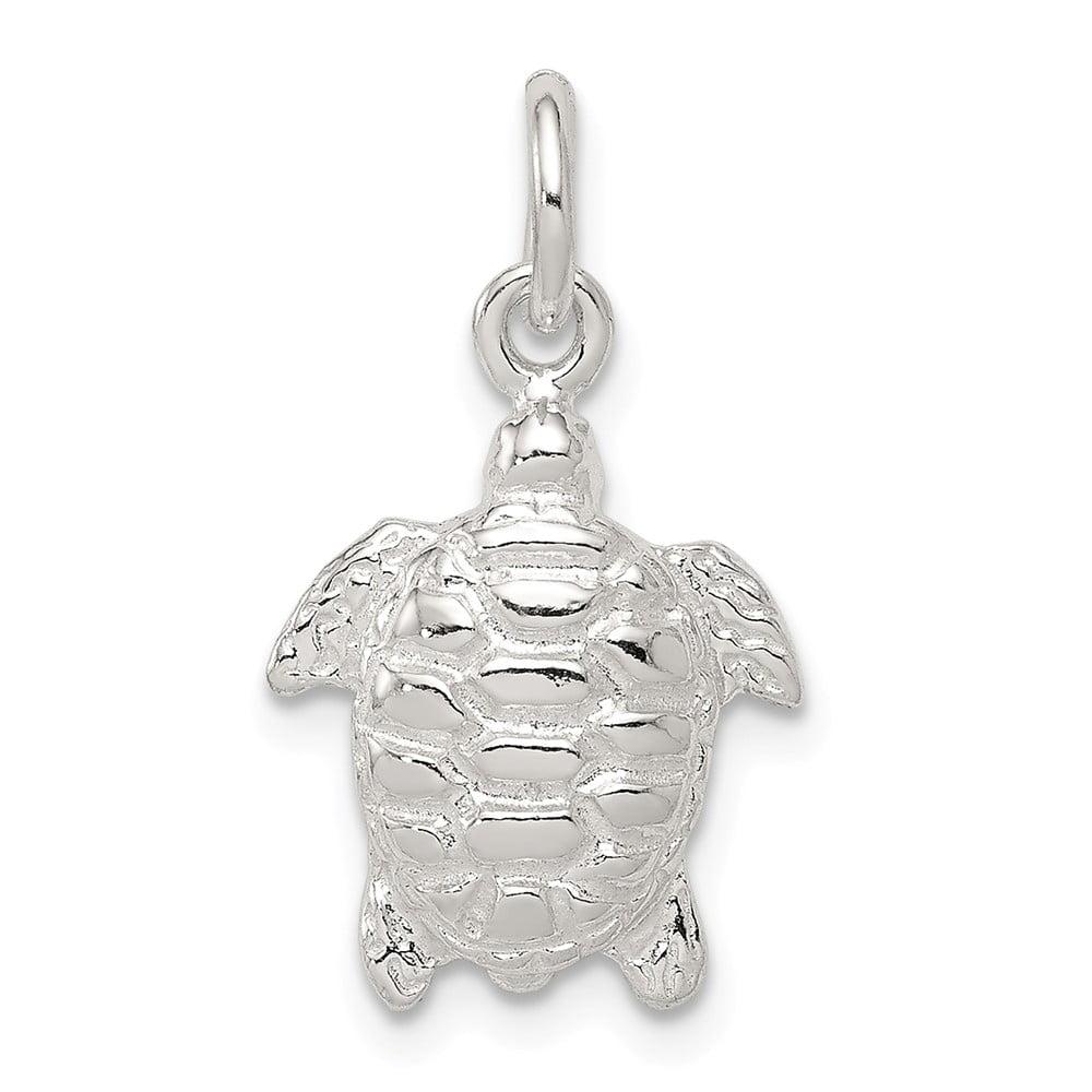 Sterling Silver Turtle Charm (0.7in long x 0.5in wide)