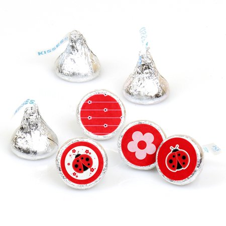 Modern Ladybug - 108 Round Candy Labels Party Favors - Fits Hershey's Kisses - Party City Ladybug