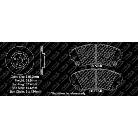 Max Brakes Front Premium Brake Kit [ OE Series Rotors + Ceramic Pads ] KT098141 | Fits: 2014 14 Cadillac CTS 345mm Diameter Front Rotors - image 1 de 8