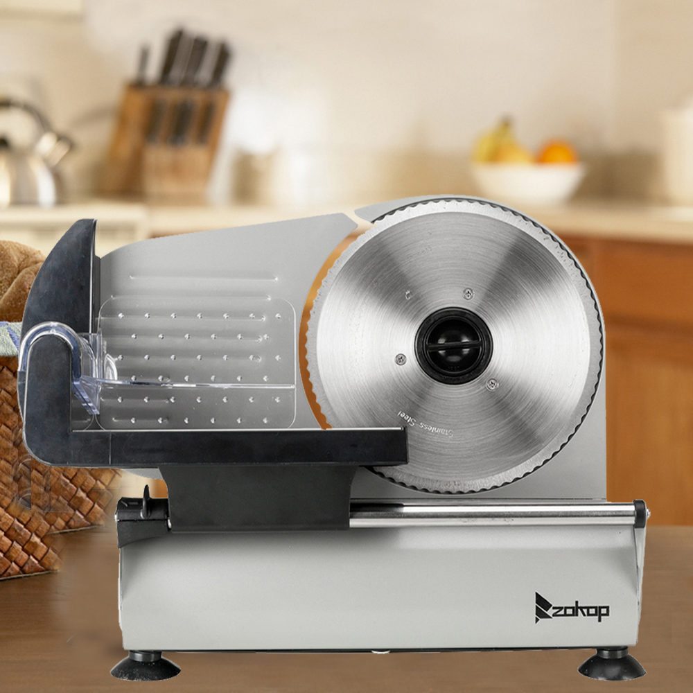 "ZOKOP 7.5"" Commercial Stainless Steel Semi-Auto Belt Meat Slicer, Cheese Food Electric Deli Slicer Veggies Cutter"