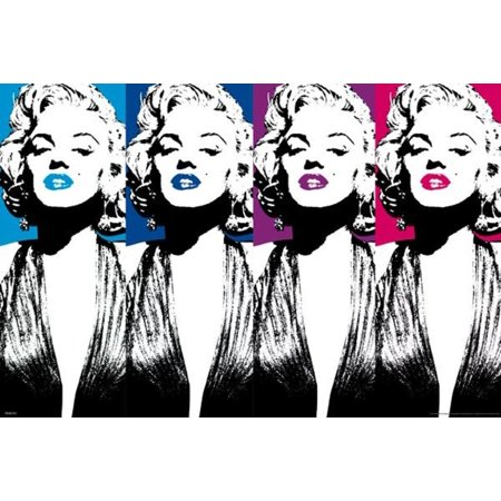 Marilyn Monroe Color Lips Pop Art Hollywood Glamour Celebrity Actress Poster   36X24 Inch