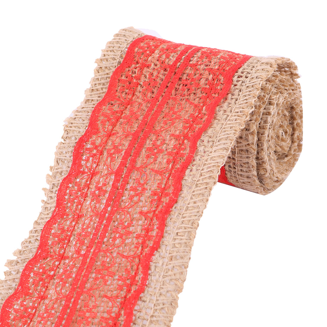 Home Party Burlap DIY Craft Sewing Belt Rope Ribbon Roll Ornament Red 1.1 Yards