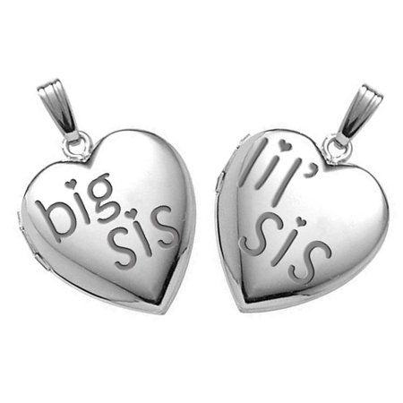 Sterling Silver  Big Sis  Lil Sis  Locket Sets   3 4 Inch X 3 4 Inch In Sterling Silver