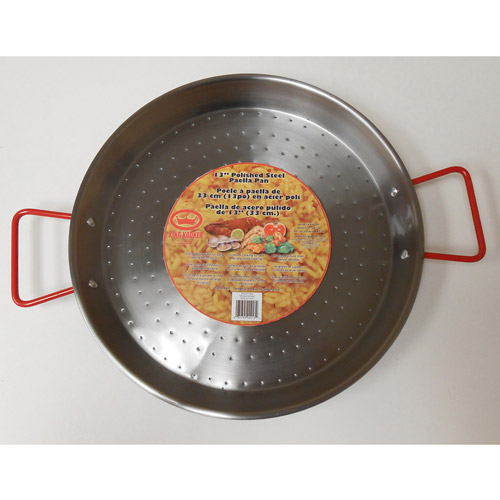"King Kooker 18"" Carbon Steel Paella Pan with Hammered Dimpled Bottom and Helper Handles"