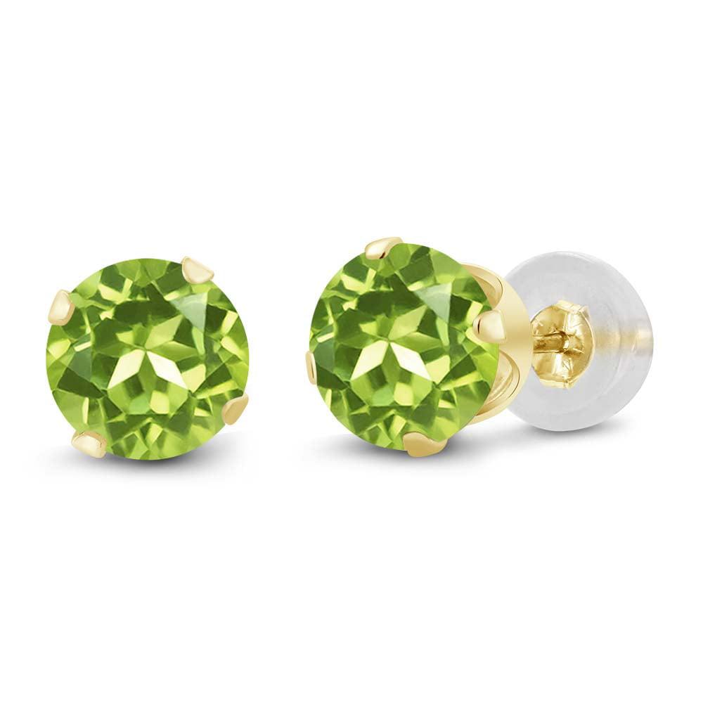 2.00 Ct Round Peridot 10K Yellow Gold Stud Earrings 6MM - image 3 of 3