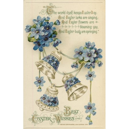 Postcard 1912 Best Easter Wishes with bells & blue flowers Canvas Art - Unknown (18 x - Best Wishes Postcard