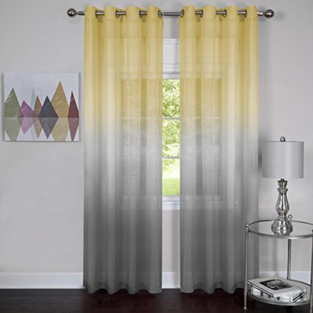 "Rainbows and Sunshine Set of 2 Ombre Sheer Window Curtain Panels (52"" x 84"") - Grey, 100% polyester By Achim"