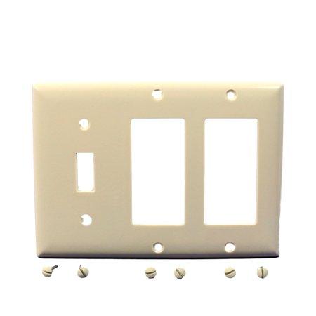 P S Lt Almond Decorator Toggle Switch 3 Gang Plastic Wallplate GFCI SP