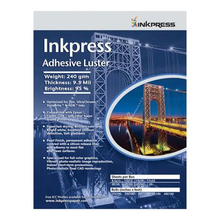 - Inkpress Adhesive Luster Inkjet Paper, 240 gsm Weight, 95% Brightness, 9.5 mil Thickness, 13x19
