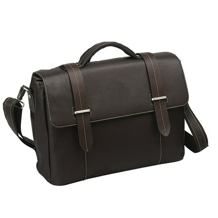 BLACK FLAP-OVER LEATHER COMPUTER BRIEFCASE Leather Flap Over Briefcase