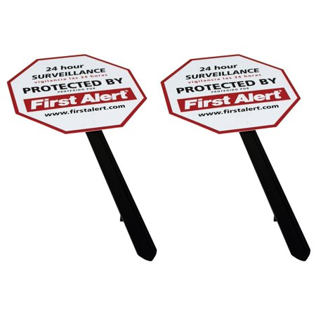 YS-1 Security Yard Sign - 2 Pack, Weather-resistant PVC Sign and sturdy yard stake to warn visitors from a distance that the premises is under surveillance By First Alert