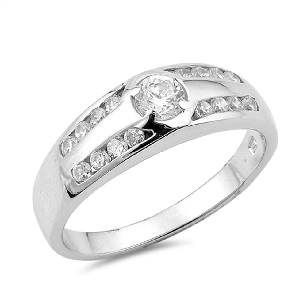 Wedding Clear CZ Classic Round Ring ( Sizes 5 6 7 8 9 ) New .925 Sterling Silver Band Rings by Sac Silver (Size 5)