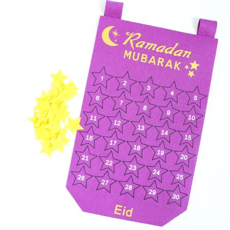KABOER Eid Mubarak Countdown Felt Calendar Wall Hanging with 30Pcs Gold Star Stickers, DIY Ramadan Party Decoration