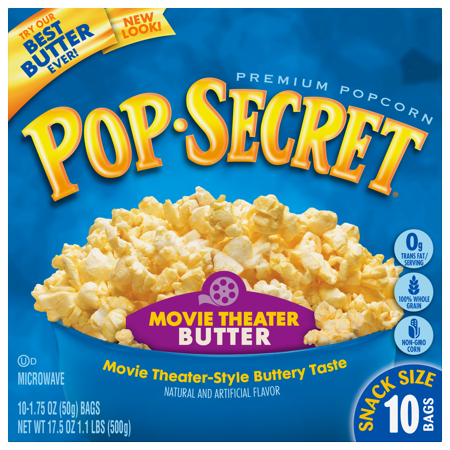 Pop Secret Microwave Popcorn Movie Theater Butter  Snack Size 1 75 Oz Bags  10 Count