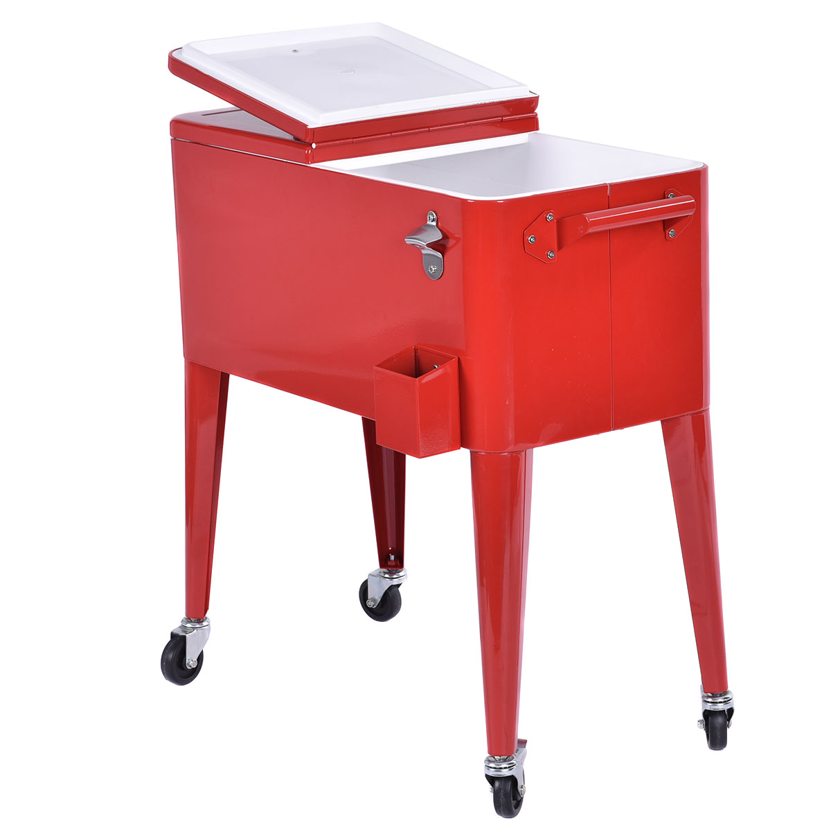Costway Red Outdoor Patio 80 Quart Cooler Cart Ice Beer Beverage Chest Party Portable by Costway