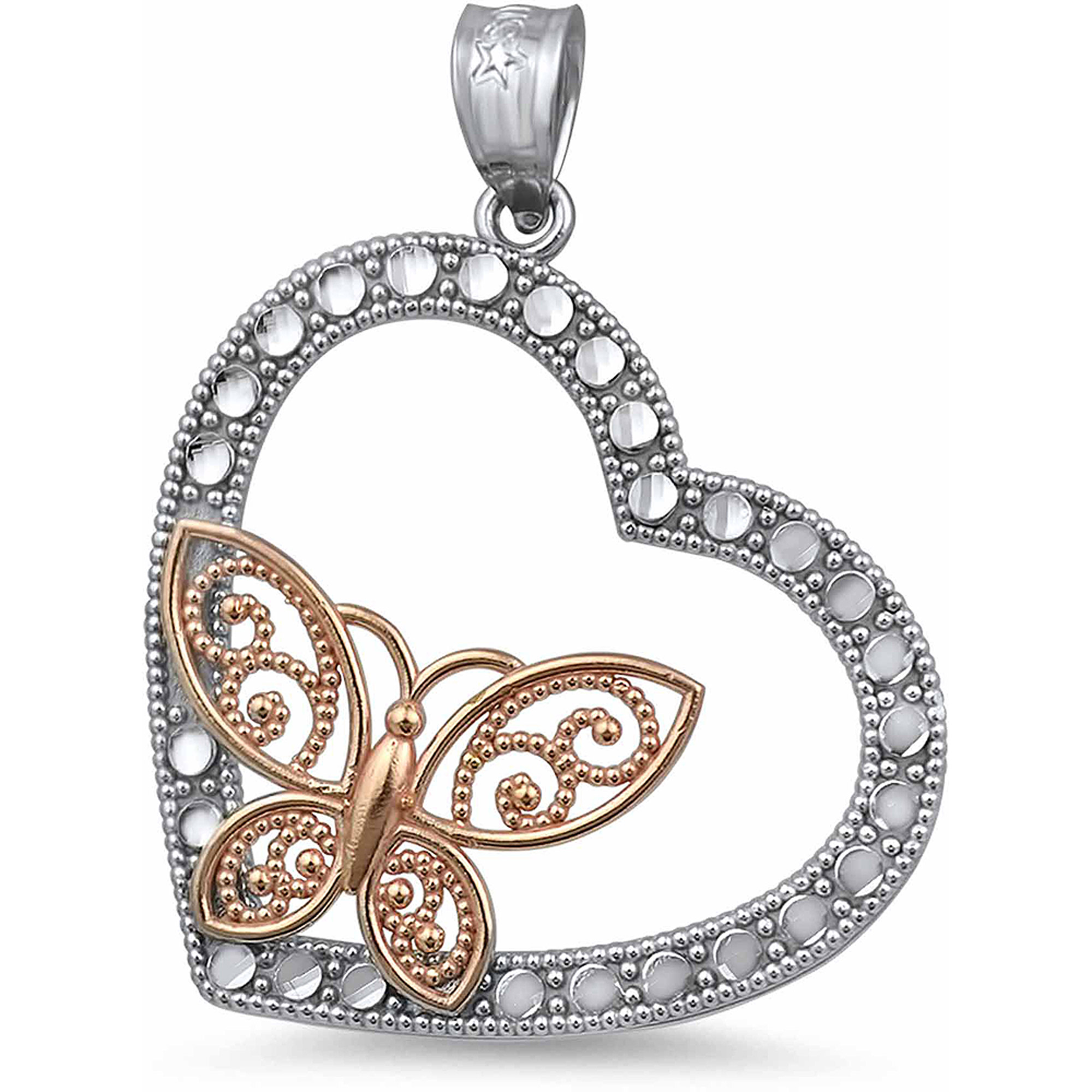 US GOLD 10kt Gold Heart with Floating Butterfly Charm Pendant
