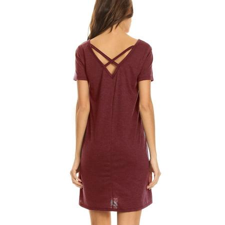 Women S V Neck Cross Back Pocket T Shirt Swing Dress  Burgundy  Small
