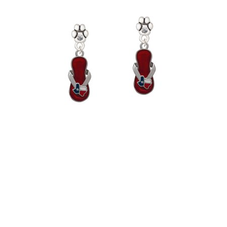 Austrian Crystal Flip Flop - Texas Flip Flop - Clear Crystal Paw Earrings