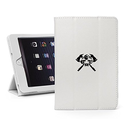 For Apple iPad Mini 1/2/3 White Faux Leather Magnetic Smart Case Cover Firefighter Skull