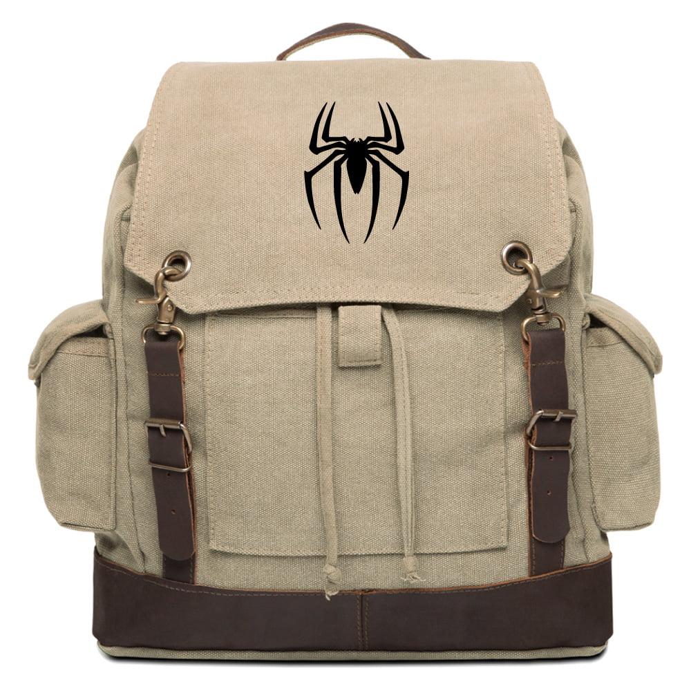 Spiderman Symbol Vintage Rucksack Backpack with Leather S...