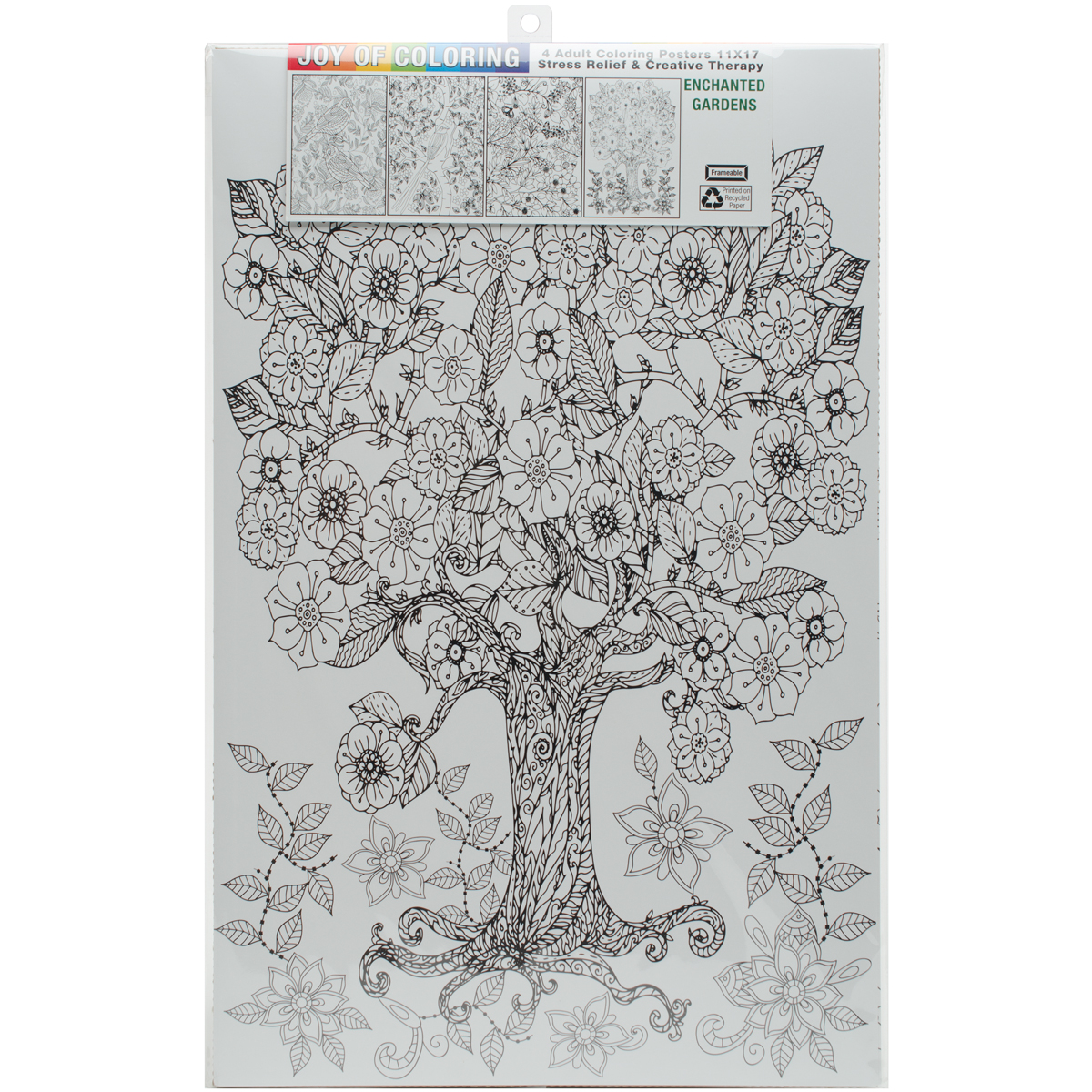 "Joy Of Coloring Adult Coloring Posters 11""x17"" 4/Pkg-Enchanted Garden"